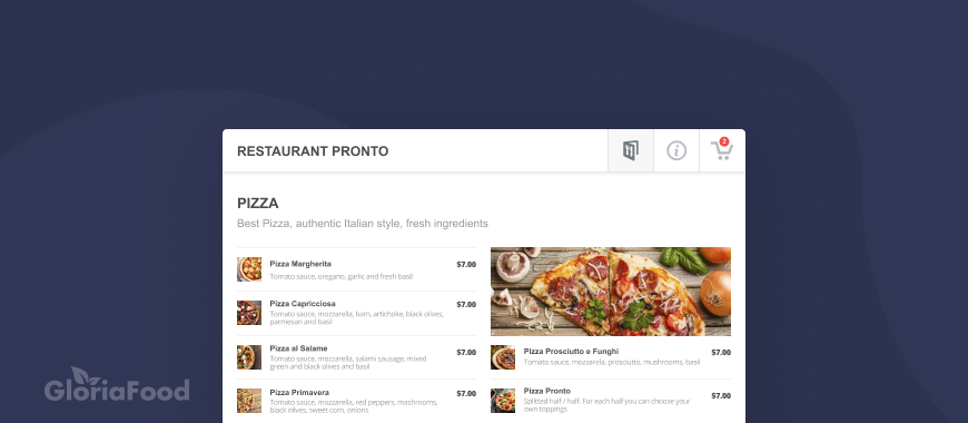 online restaurant menu with pictures