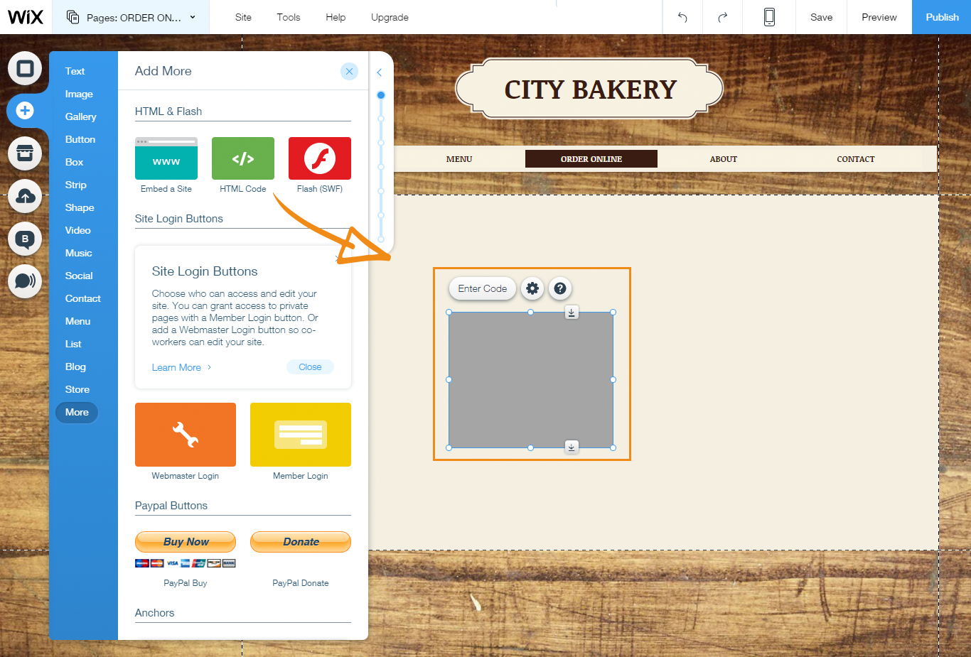 How to add the online ordering button in Wix | GloriaFood Blog