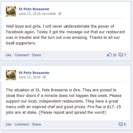 restaurants usings social media successfully: St. Pete's Brasserie's Facebook post