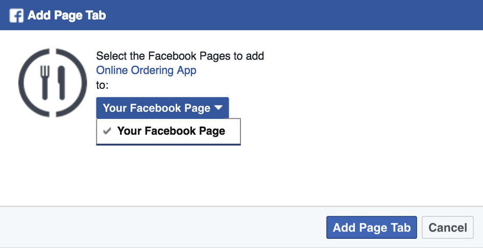 Facebook food ordering system: how to add page tab
