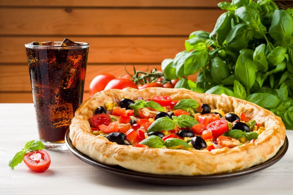 pizza plus glass of coke