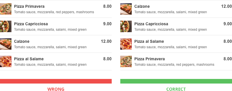 Restaurant Menu Pricing Methods: use expensive decoy food at the top
