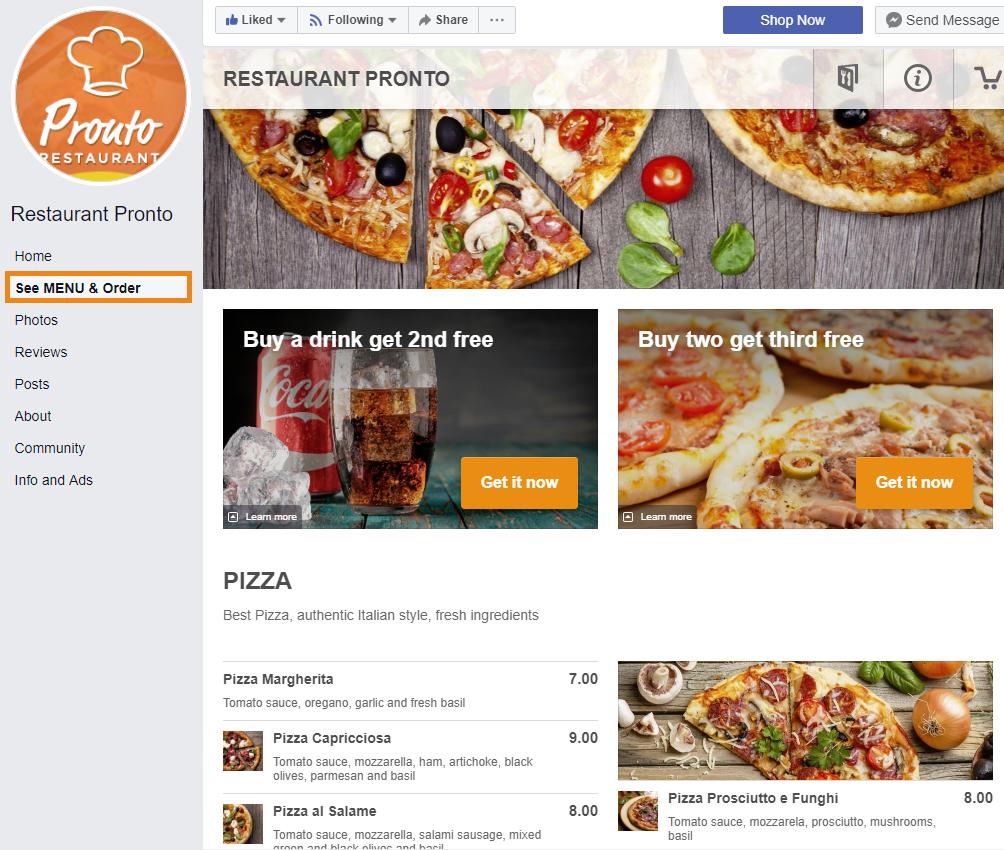 facebook food ordering system