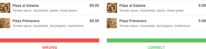 Restaurant Menu Pricing Methods: delete the currency sign off your menu