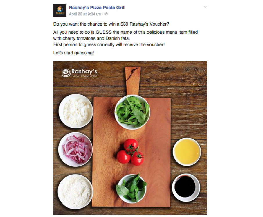 Facebook Contest Ideas to Increase Likes: Guess the Dish