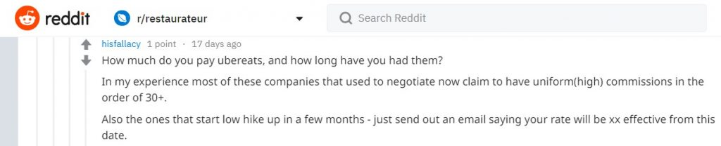 Reddit users reporting a negative impact on their restaurant brands when listing their business on online food portals