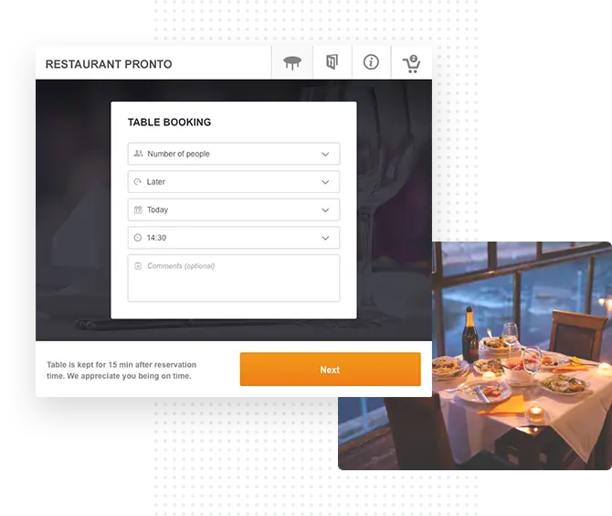 the gloria food table reservation form