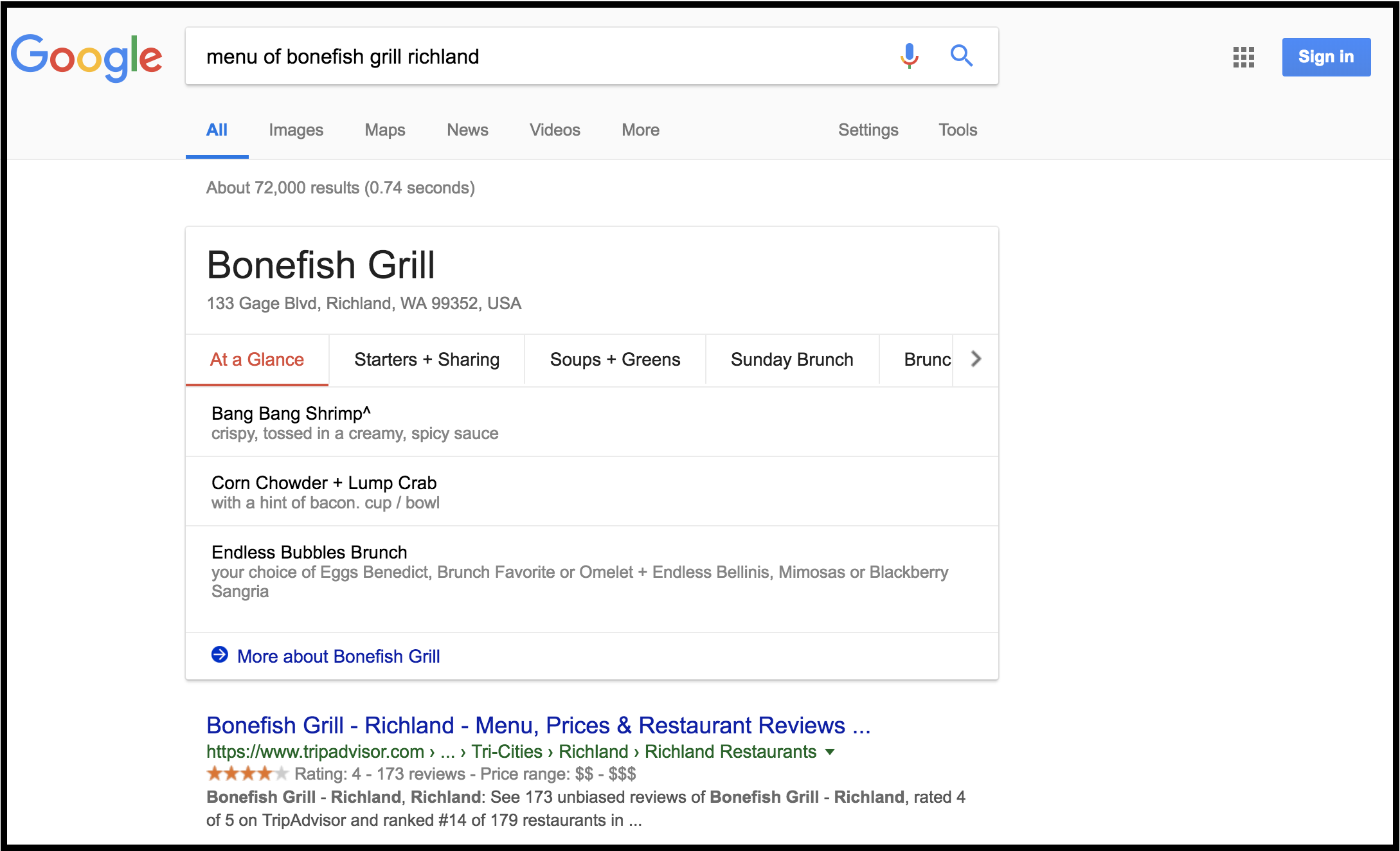 Google displays the menu of Bonefish Grill directly on the search results page