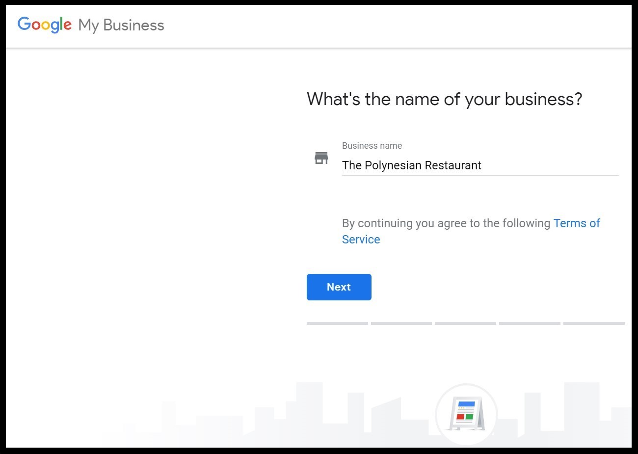 Benefits of Google My Business: Easy Googly My Business Set Up by first typing in the name of the restaurant