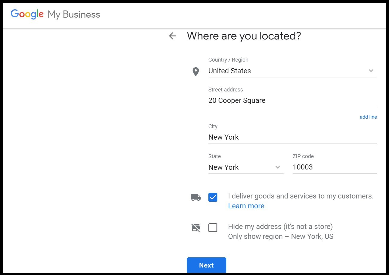 Benefits of Google My Business: adding the location