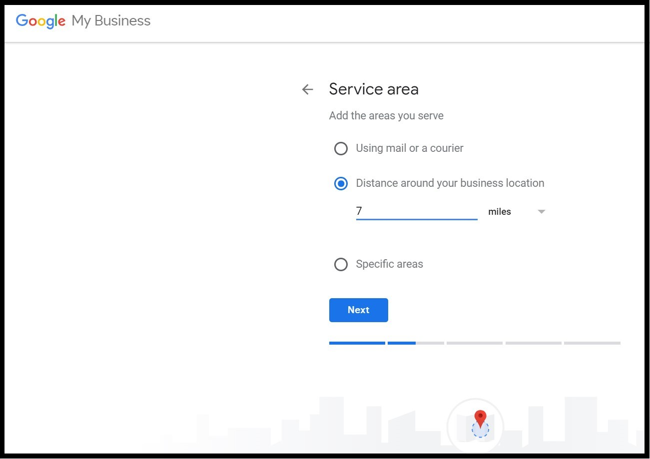 Benefits of Google My Business: adding the delivery service area so that Google can display potential customers local businesses close to them