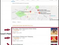 local seo for restaurants: Indian restaurants in Whitchurch, shown in the Local 3 Pack