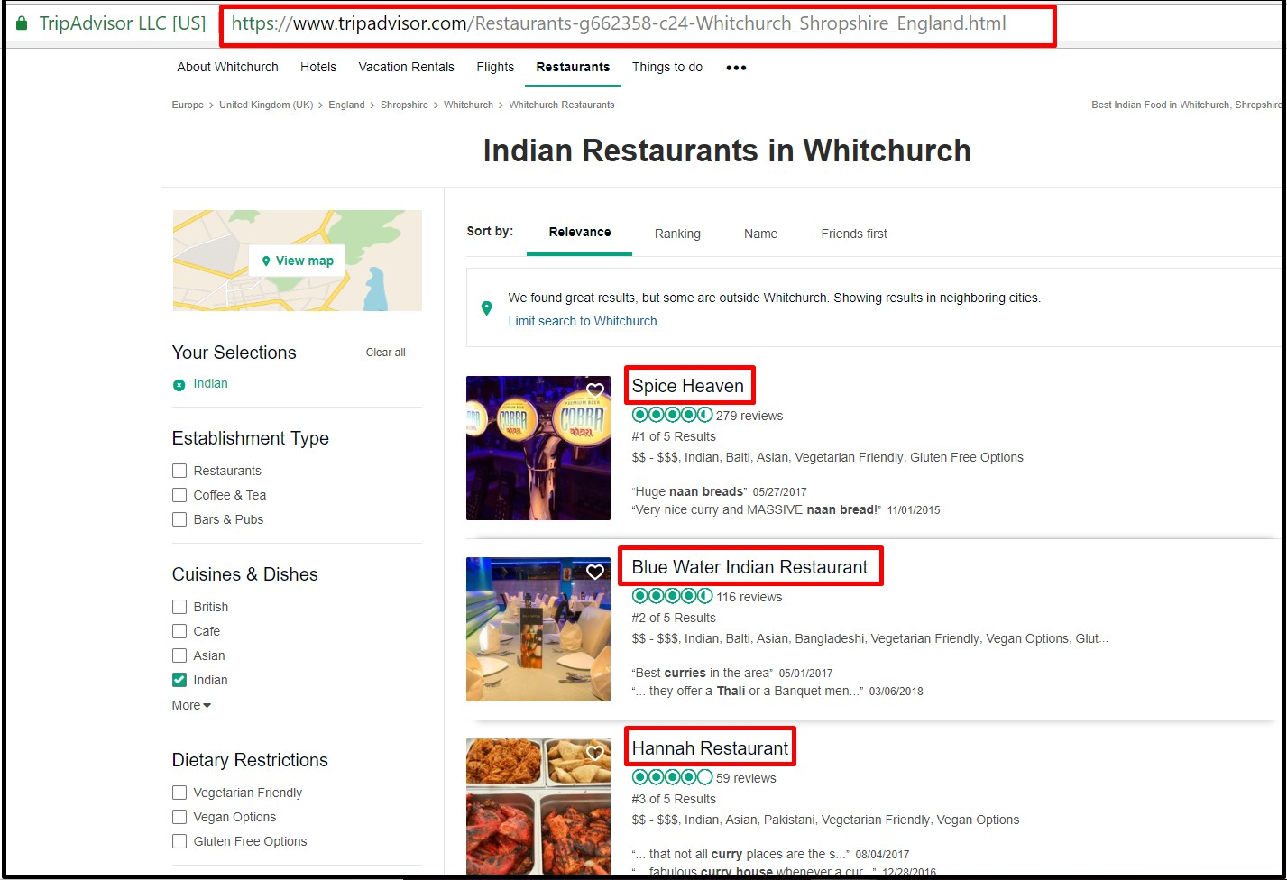 local SEO for restaurants: first three restaurants in Whitchurch as shown on TripAdvisor
