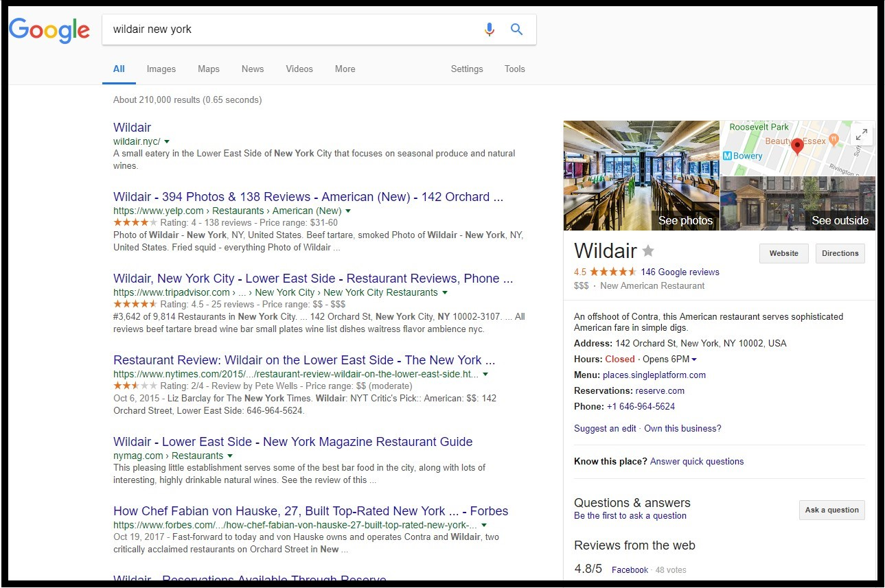 Benefits of Google My Business: The Wildair restaurant is standing out of the crowd on the right side of the page.