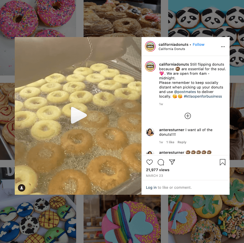 restaurant instagram marketing ideas from california donuts