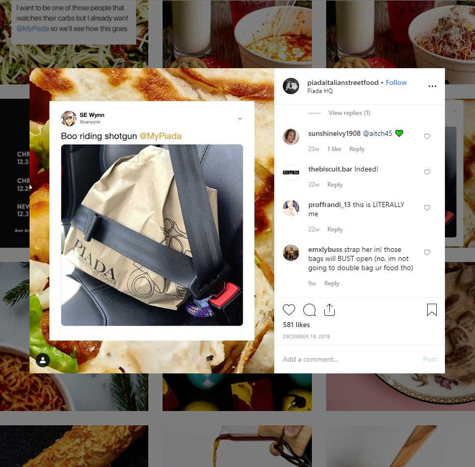 restaurant instagram marketing tips: Piada Italian Street Food Instagram