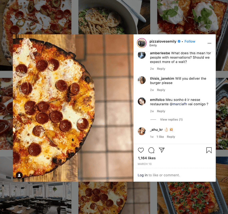 restaurants that use instagram right: pizza loves emily