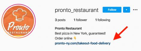 order online link restaurant instagram