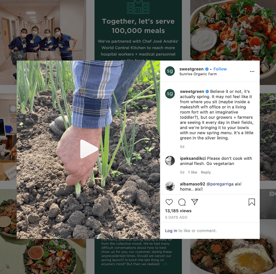 restaurant instagram post ideas from sweet green