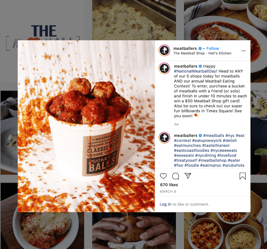 food instagram content ideas from the meatball shop