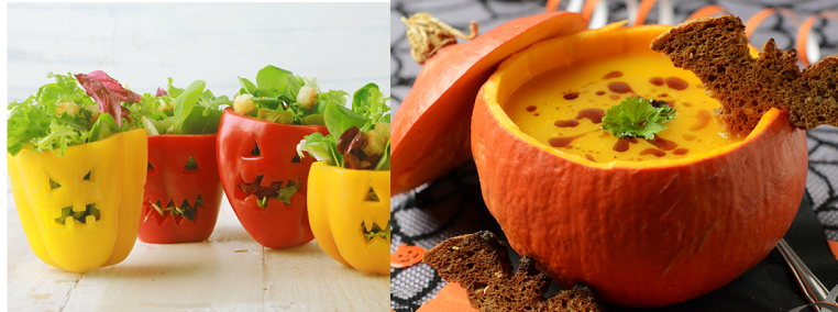 Halloween theme salads and soups