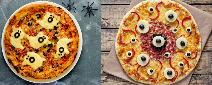 halloween menu ideas for restaurants: halloween themed pizza