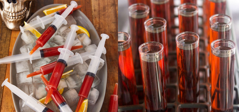 halloween restaurant ideas: serve shots in syringes or lab tubes
