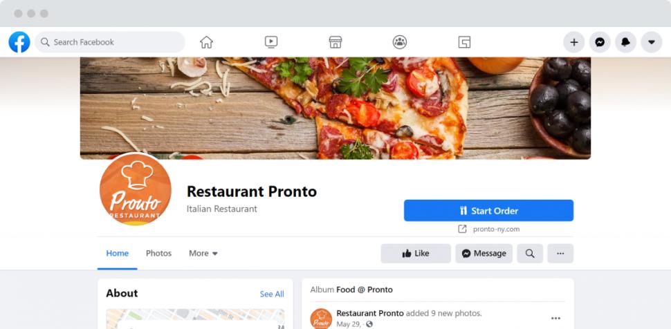 start order button facebook