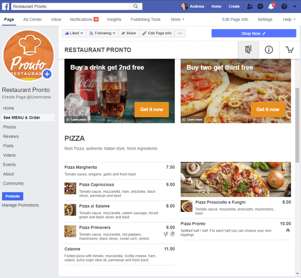 Facebook restaurant menu: this is how the menu of restaurant Pronto looks like on Facebook