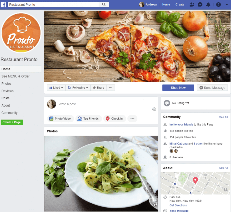 Facebook restaurant menu example