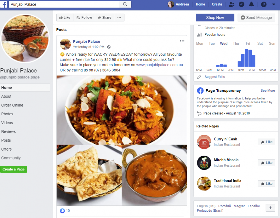 facebook marketing for restaurants: provide your customers with offers on certain days of the week