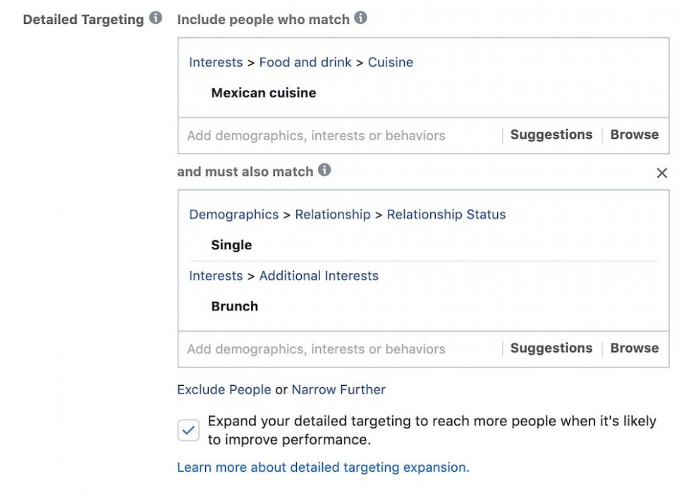 facebook ads narrow further option