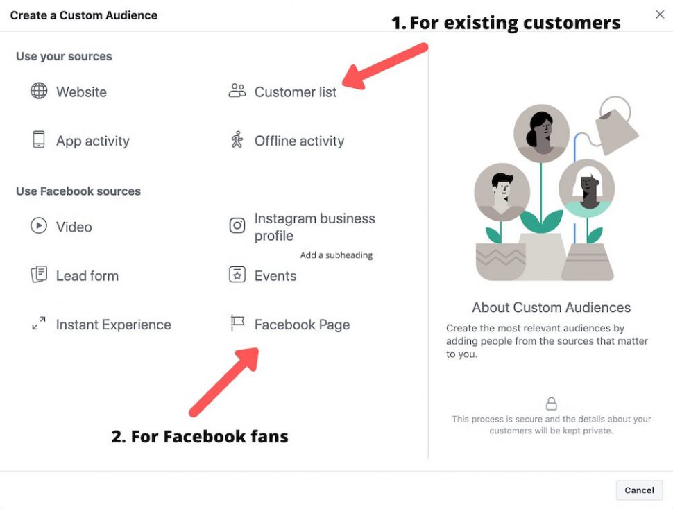 facebook custom audiences options