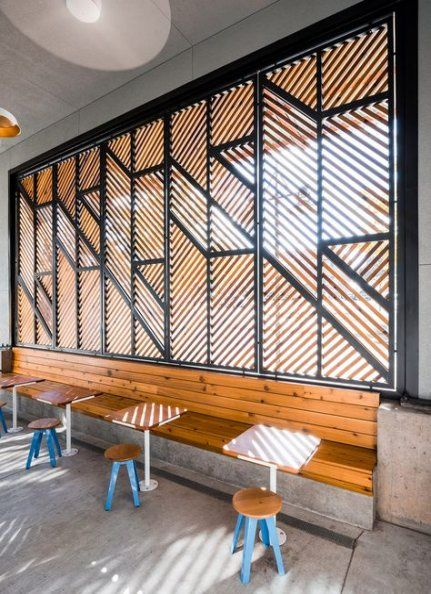 restaurant interior design low budget: seats built into the wall