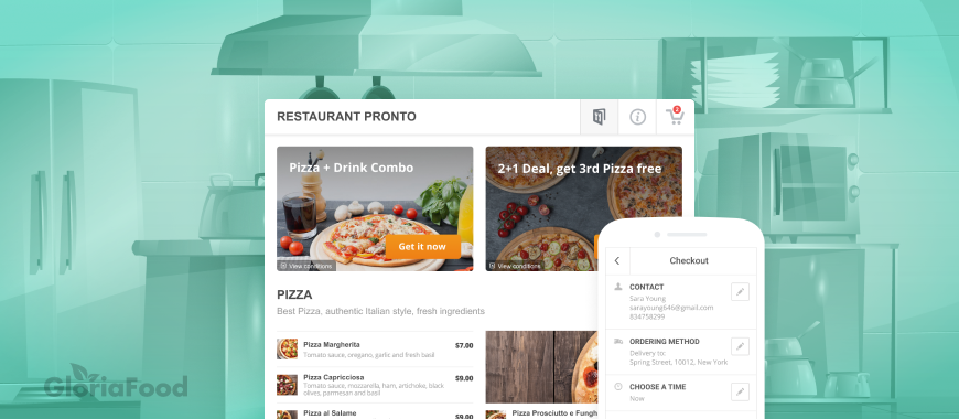 in house online ordering system from gloriafood