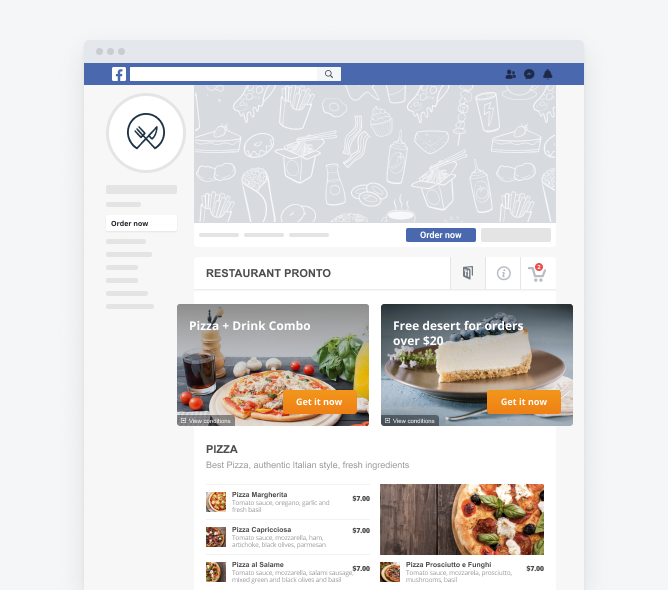 restaurant ordering system with facebook ordering widget