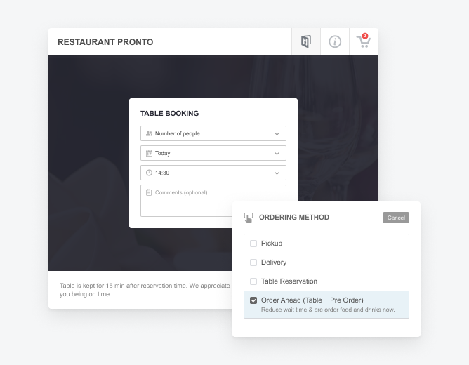restaurant ordering system with table reservation options