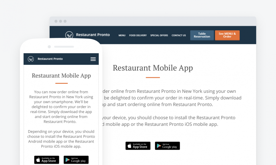 Feature your restaurant mobile app on your website