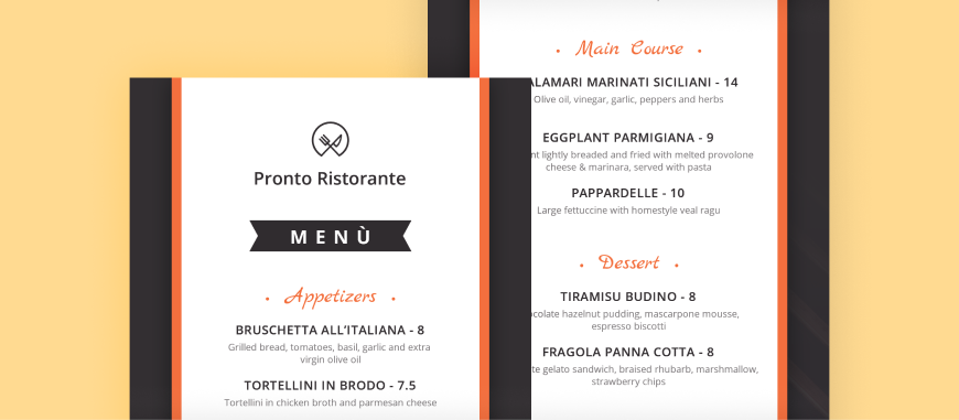 limited menu examples