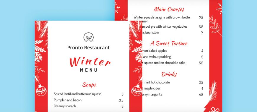 winter menu template