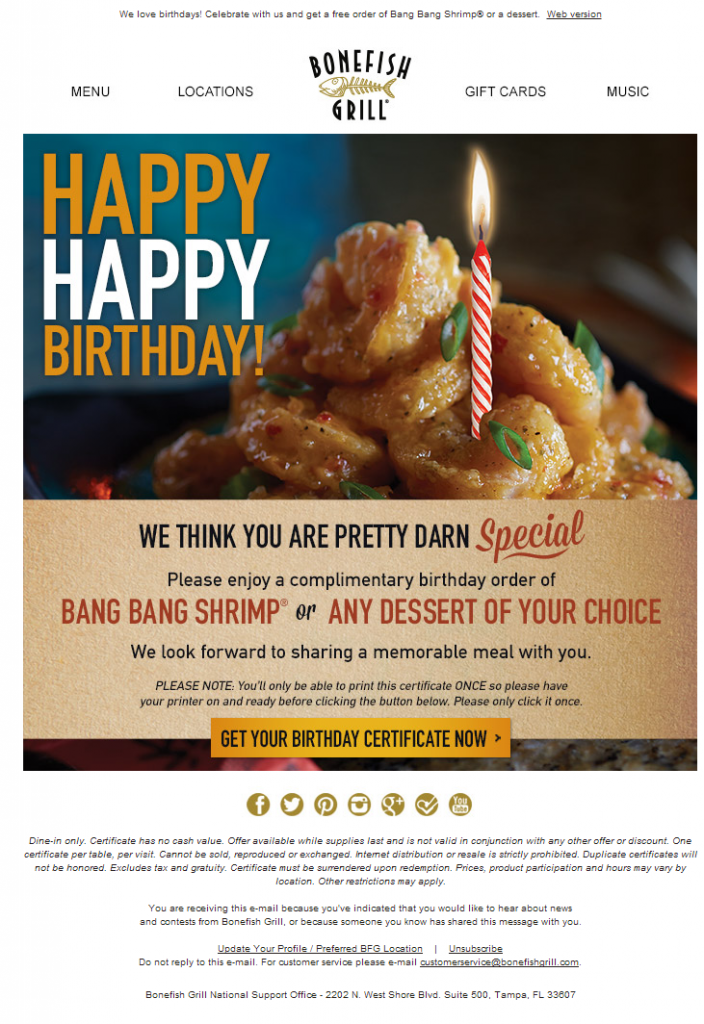 birthday email marketing campaign for restaurant