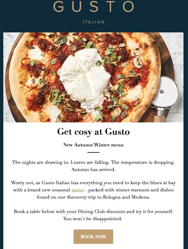 restaurant email templates - new menu