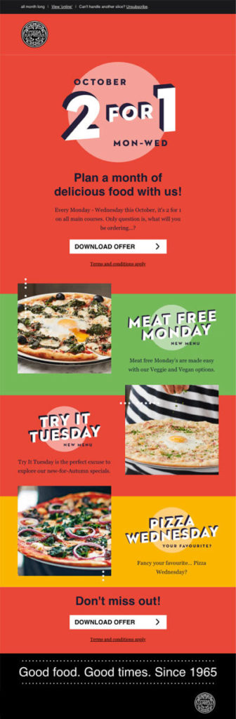 catchy sales emails for restaurants - offers