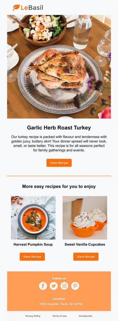 restaurant email marketing - recipes