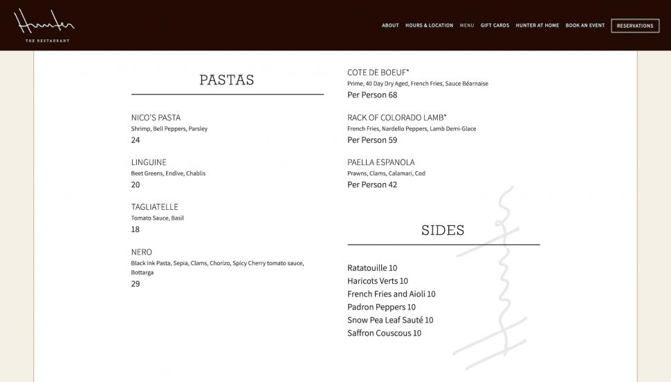 hunter menu
