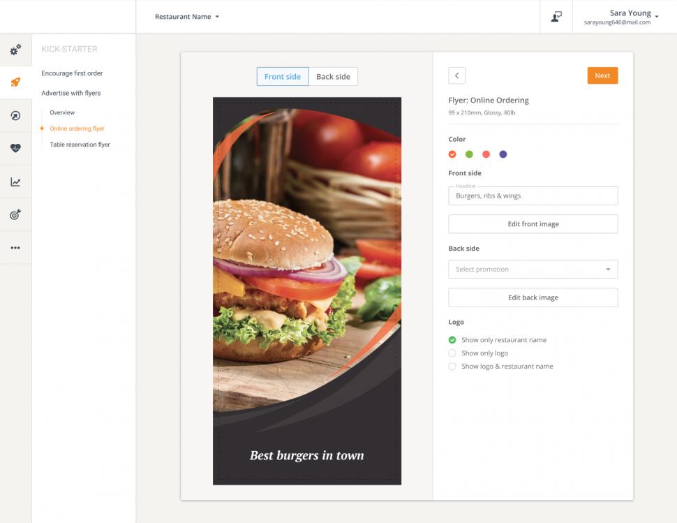 online ordering flyer for restaurants